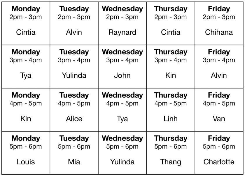 PEP Schedule Fall 2017
