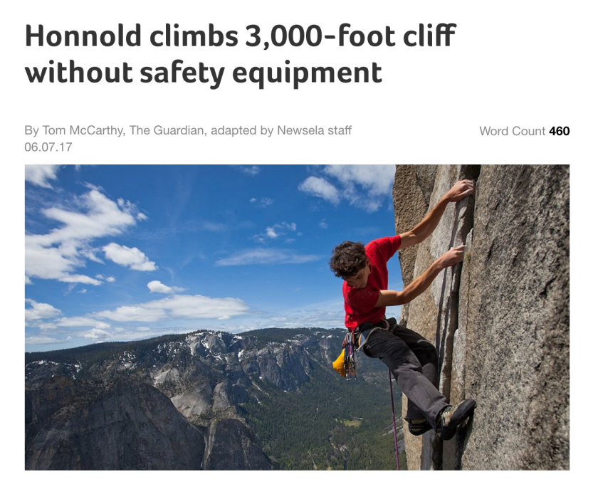 Honnold climbs 3,000-foot cliff without safety equipment
