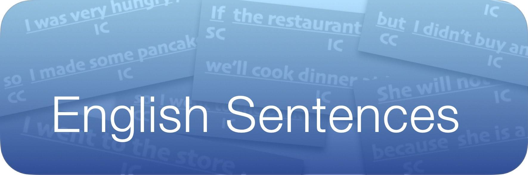 Study Button - English Sentences Blue